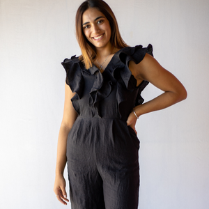 Sophie Jumpsuit from online clothing label Bliss + Chaos in 100% black linen