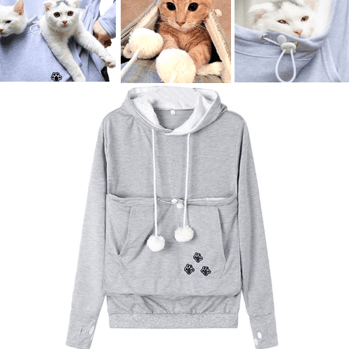 Cat Pouch Hoodie with Ears - Pet Holder Sweatshirt - Special