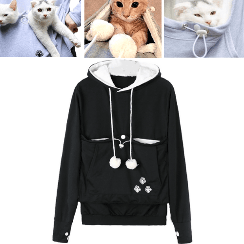 Original Cat Pouch Hoodie with Ears - Pet Holder Sweatshirt