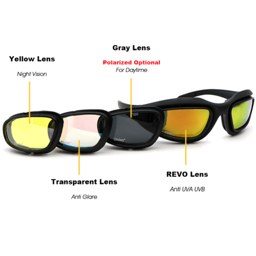 Polarized Light Adjusting Goggles Sunglasses - 4 Lens Kit