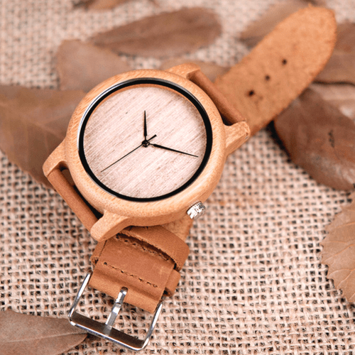 Classic Unisex Bamboo Wooden Watch Leather Strap