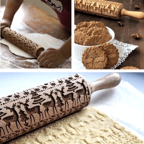 Original Christmas Embossed Rolling Pin