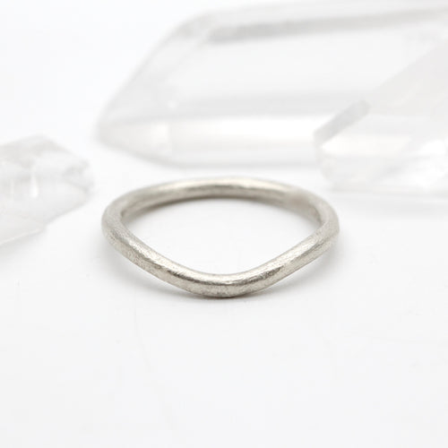 Curved wedding ring 9ct white gold 2mm wide by Tamara Gomez