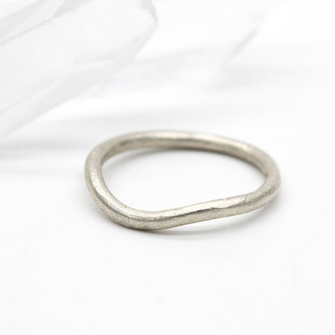 Curved wedding ring 9ct white gold 2mm wide