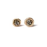 Rough diamond stud earrings in yellow gold