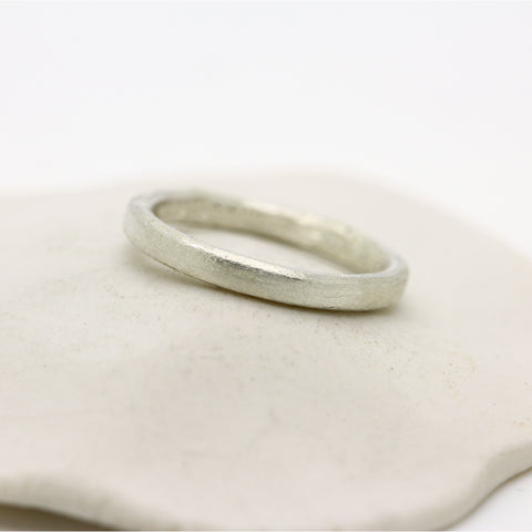 Sterling silver oval court style wedding band