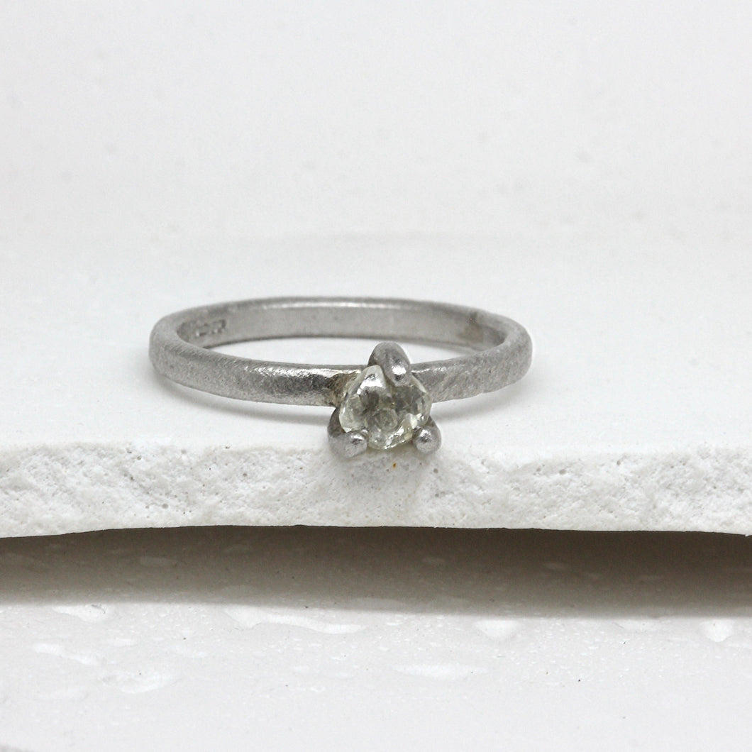 0.55ct claw set raw diamond ring in platinum by Tamara Gomez