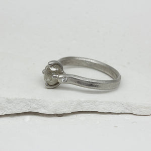 1.5ct claw set platinum rough diamond ring by Tamara Gomez