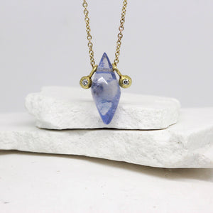 Sapphire and diamond talisman necklace in yellow gold by Tamara Gomez