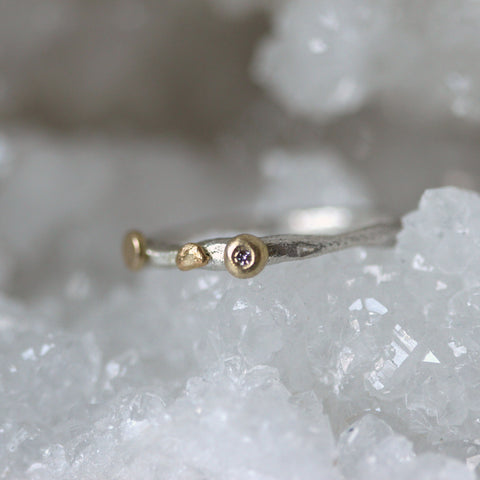 White diamond ring silver and gold