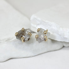 Load image into Gallery viewer, Claw set rough diamond stud earrings in yellow gold by Tamara Gomez