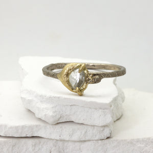 Raw diamond ring in white and yellow gold