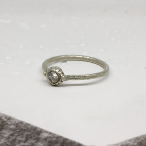 0.41ct raw diamond ring in white gold by Tamara Gomez