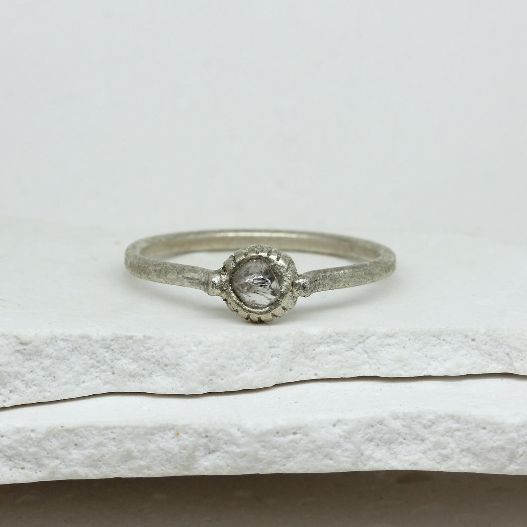 0.41ct raw diamond ring in white gold