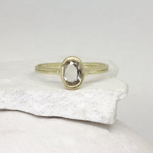 Rose cut white sapphire ring in yellow gold by Tamara Gomez