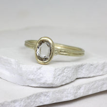Load image into Gallery viewer, Rose cut white sapphire ring in yellow gold by Tamara Gomez