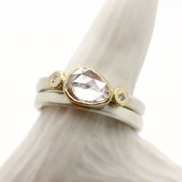 Tamara Gomez White sapphire ring with matching wedding band sterling silver