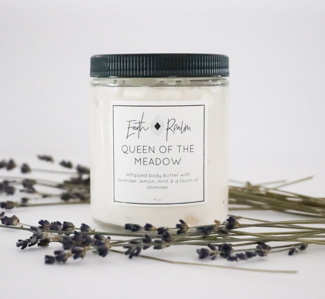 Queen of the Meadow-Whipped body butter with lavender, lemon & mint with a touch of shimmer