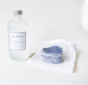 Rose Micellar Water with Reusable organic cotton rounds set