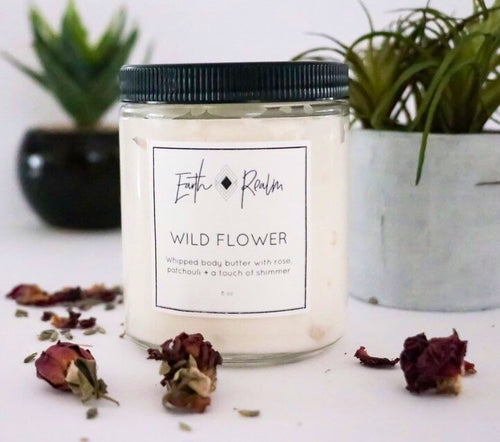 Wild Flower- Whipped body soufflé with rose, patchouli + a touch of shimmer