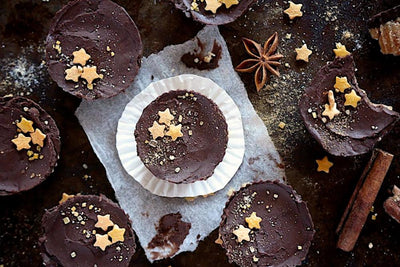 Chai Spiced Blondie Bites with Dark Chocolate Espresso Frosting