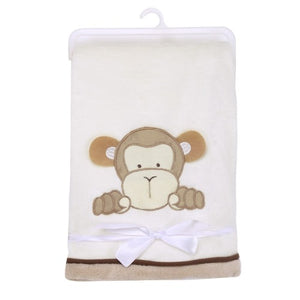 Lovely Cartoon Animal Soft Coral Fleece Baby Blanket for Infant Bedding 102cm x 76cm