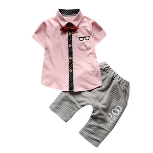 Gentle baby boy style Newborn baby set Toddler Baby Boy Glasses Tops Shirt Shorts Pants Tie Outfit Set Clothes drop shipping