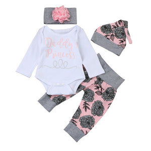 Newborn Baby Girls Daddy's Princess Letter Long Sleeve Tops Romper Pants Hat Headband Florals Prnting Fashion Baby Set Outfits