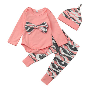 6-24M Newborn Baby Girl Boy Clothes Camouflage Pink Colors Long Sleeve Bow Bodysuits Shirt Tops+Long Pants+Hat 3PCS Set Outfits