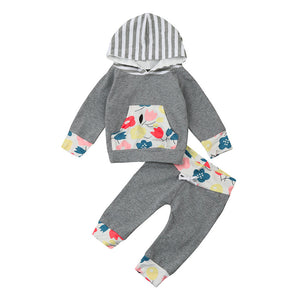 2 Pcs Autumn Baby Boy Girl Warm Letter Hooded Clothing Set Infant Babies Kids Floral Printed Tops+Stripe Pants Outfits Clothes