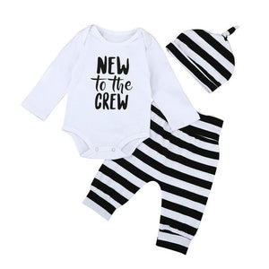 3PCS Autumn Spring Newborn Baby Boys Girls Long Sleeve Letter Tops Romper+Striped Long Pants Hat Outfits Set