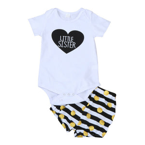 Kids Baby Girls Little Sister Cotton LOVE Romper + Short Pants Polka Dot Striped 2PCS Outfits Set