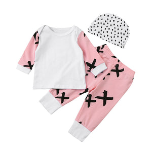 6-24M Infant Newborn Baby Girls Boy Tops T-shirt + Pants Leggings + Dot Print Hat 3pcs Outfit Bebek Clothing Set
