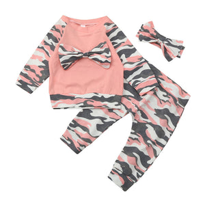 3PCS Newborn Baby Girls Boys Bow tie Long Sleeve Tops T Shirt +Long Pants +Headband suit Pink Camouflage Outfits Clothes Set