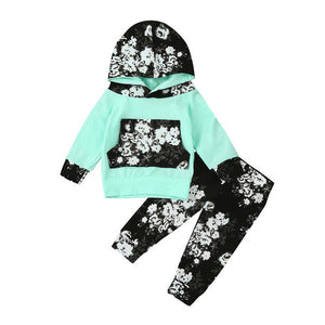 2pcs Fashion 2017 Autumn Baby Girls Floral Print Hooded Pullover Long Sleeve Tops +Pants Outfits Floral Clothing Set