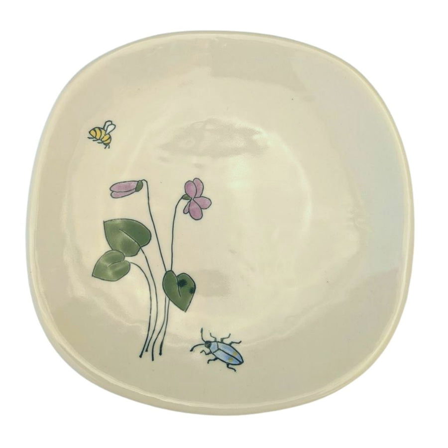 Dessert Plate with Mishima Purple Flowers and Bugs
