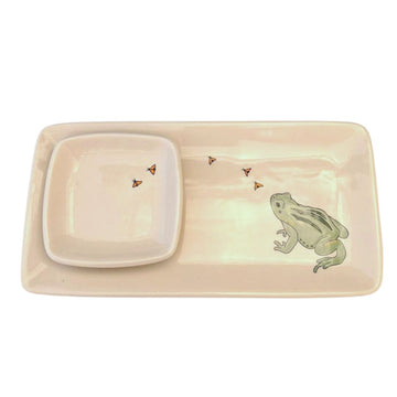 Rectangular Tray & Dipping Bowl with Mishima Frog