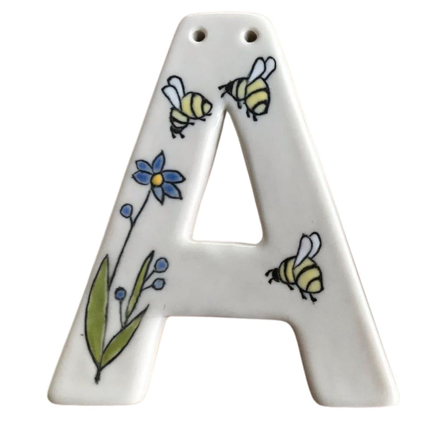 Porcelain Letter A Ornament with Mishima Images