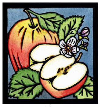 Apples Original Linocut
