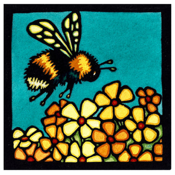 Bumble Bee Original Linocut