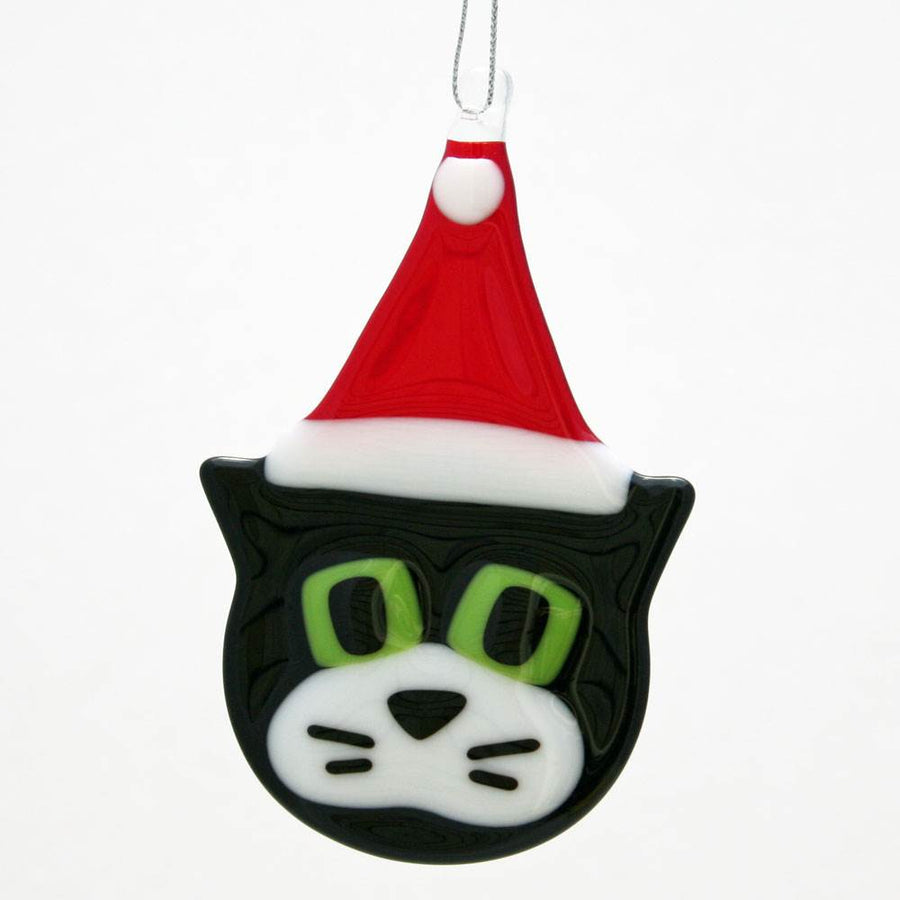Cat with Santa Hat Ornament - Black
