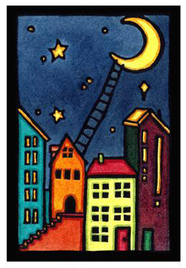 Climb to the Moon Original Linocut