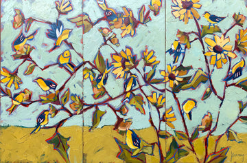 Goldfinches in the Sunflowers Triptych