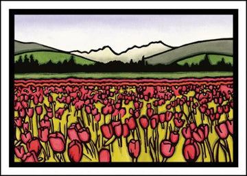 Field of Tulips Original Linocut