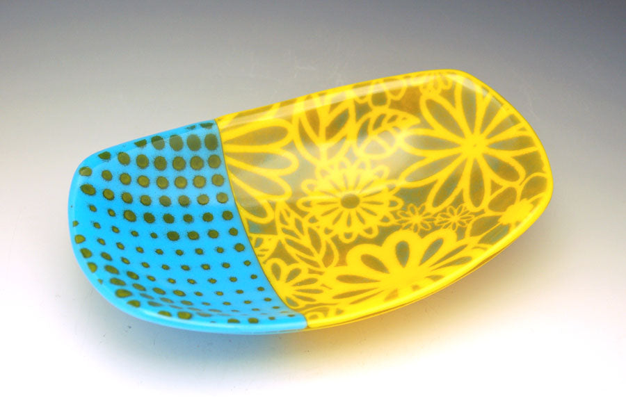 Flower Burst Footed Dish - Turquoise and Yellow