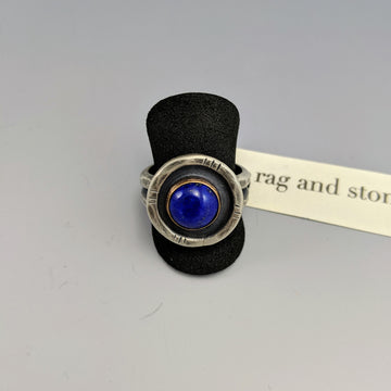 Lapis Lazuli 14k Gold Fill Shadowbox Ring - Size 8