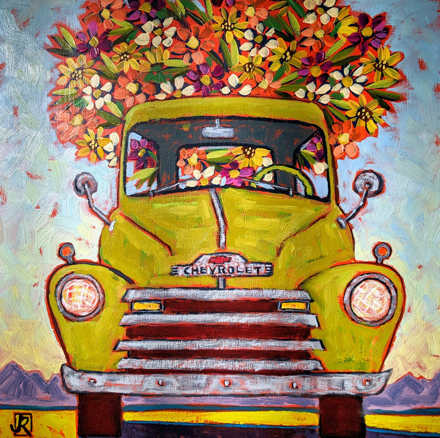 Lime Green Flower Truck