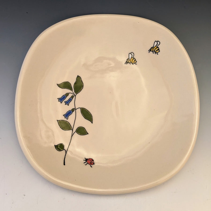 Dessert Plate with Blue Flowers and Bugs