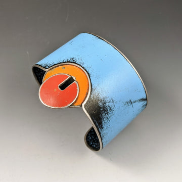 Big Cuff - Blue with Orange & Red Circles