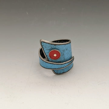 Ring - Blue with Red Dot